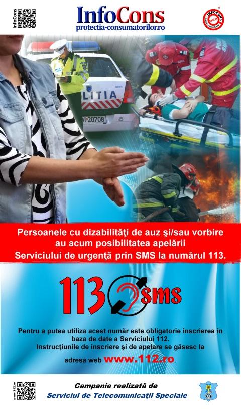 Afis serviciul de urgenţă pentru persoanele cu dizabilităţi de auz şi/sau vorbire